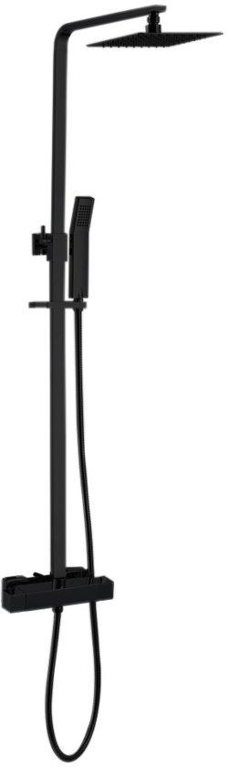 """Best Design Regendouche Best-Design """"Black-York"""" vierkante thermostatische opbouwset """"Nero"""" mat-zwart"""