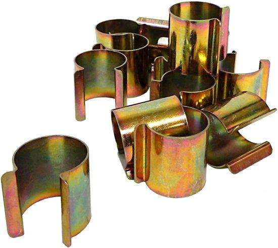 Klemmen voor kas/serre 25 mm - messing - set van 14 stuks