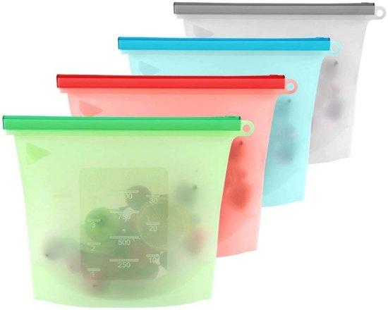 Siliconen Vershoudzakken - Set 4-Stuks 1500ml - Duurzaam - Herbruikbaar - Vries & Hitte Bestendig - 4 Kleuren - Vershoud Vershoudzak silicone - opbergzak (Transparant, rood, groen, blauw) Maatbeker