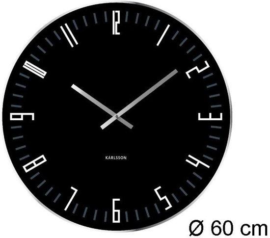 Karlsson slim index klok rond glas 60 cm zwart - Klok cm ...