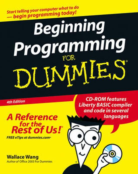 Boek cover Beginning Programming for Dummies, 4th Edition van Wallace Wang (Paperback)