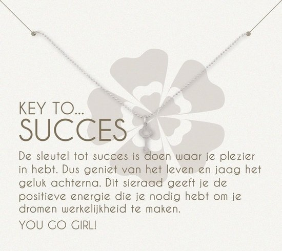 Simply Because Key to succes! Ketting (zilver, bedel sleuteltje) 42 cm