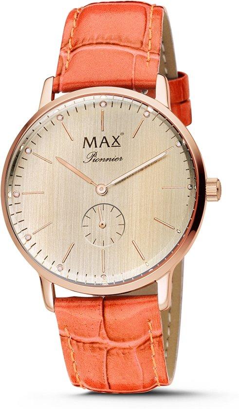 Max Pionnier 5 MAX730 Horloge - Leren band - Ø 40 mm - Oranje / Rosékleurig / Rosékleurig