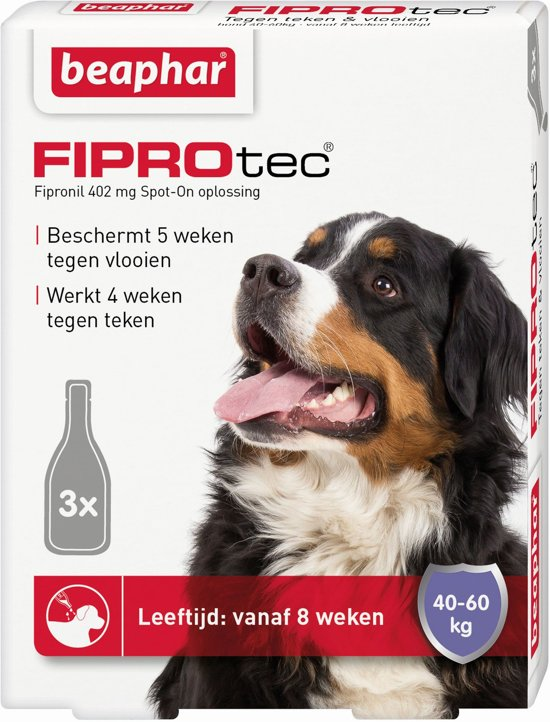 Beaphar Fiprodog tegen teken en vlooien - 40-60 kg - 3 pipet