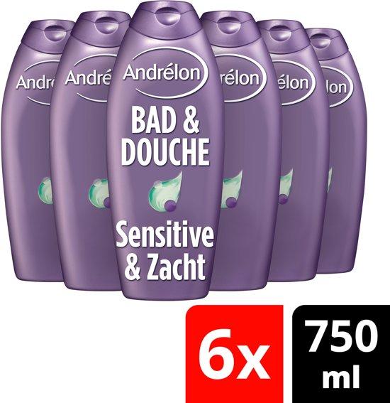 Andrélon Sensitive & Zacht - 6 x 750 ml - Bad & Douche - Voordeelverpakking