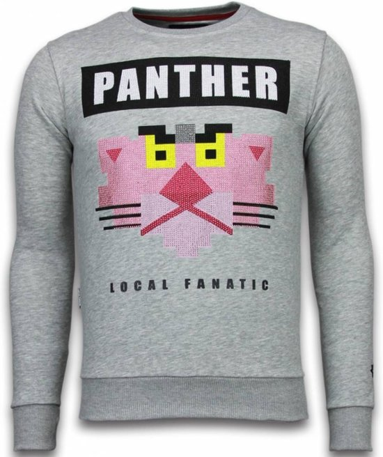 Panther Sweater Maten Grijs Local Fanatic Xxl Rhinestone 5UqwOROp