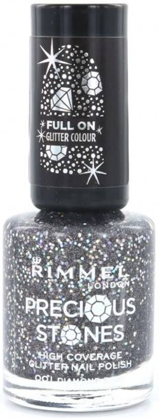 Rimmel London Glitter High Coverage - 1 Diamond Dust - Zwart - Nagellak