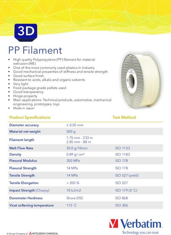 Verbatim 55951 3D Printer Filament PP 2.85mm 500g Transparant