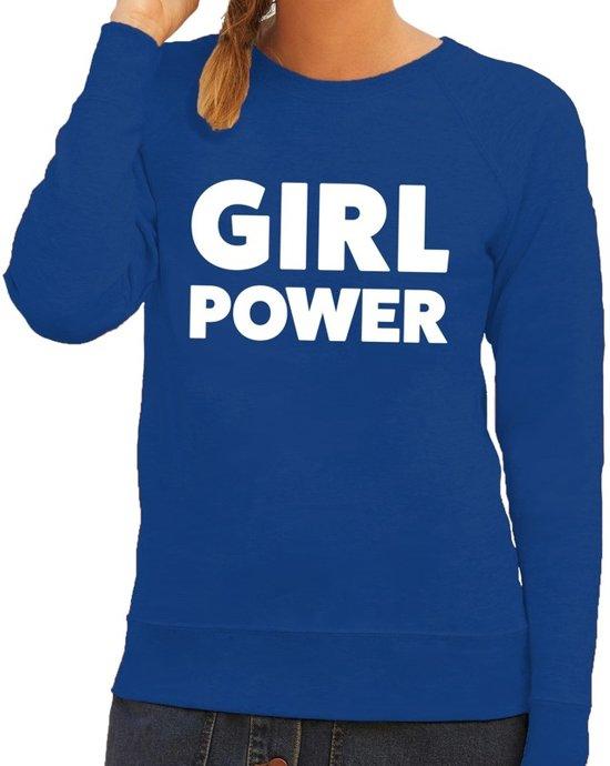 Dames Trui Met Tekst.Bol Com Toppers Girl Power Tekst Sweater Blauw Dames Dames