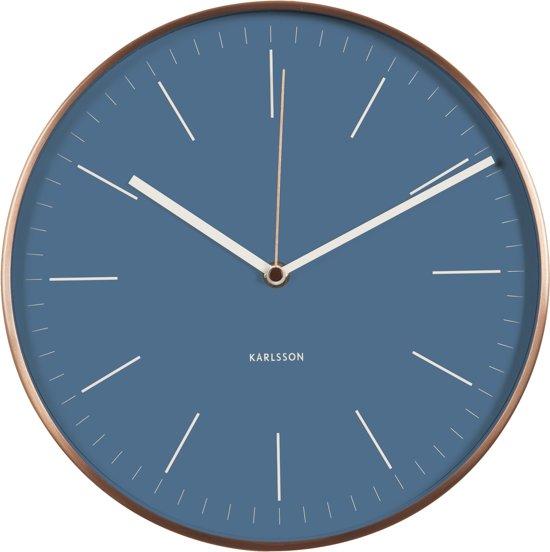 Karlsson Minimal Jeans Blue - Klok - Rond - Aluminium - Ø27.5 cm - Blauw Valentinaa