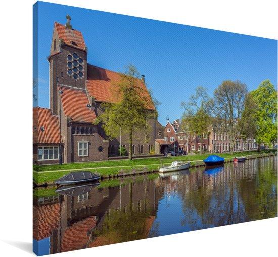 Zonnige dag in het Nederlandse Haarlem Canvas 140x90 cm - Foto print op Canvas schilderij (Wanddecoratie woonkamer / slaapkamer) / Europese steden Canvas Schilderijen