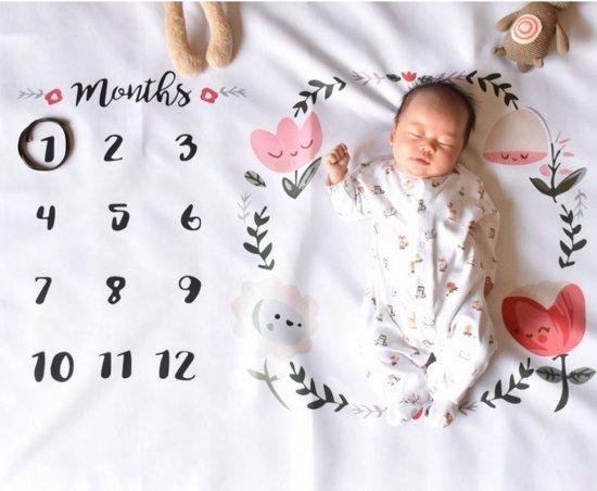 Baby mijlpaaldoek - mijlpaaldeken - milestone - Bloemen en hartjes