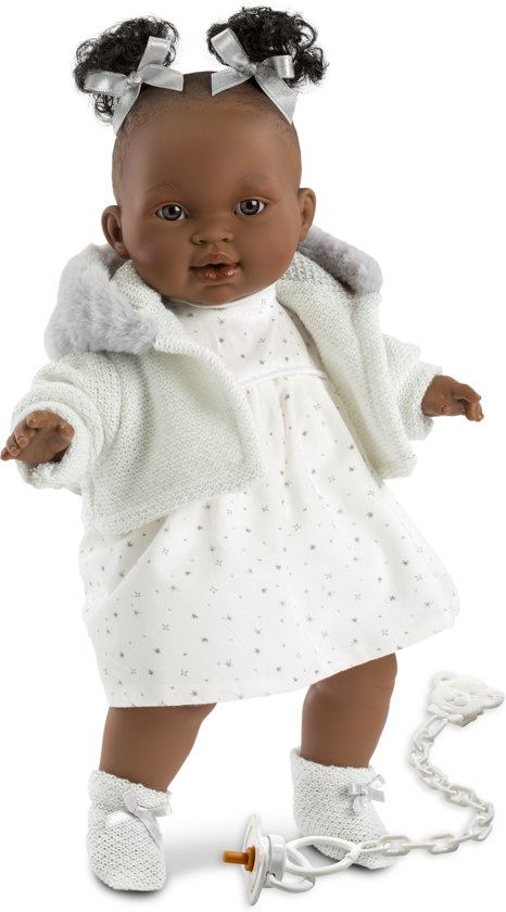 Llorens babypop donker softbody 38 cm met kleding en geluid