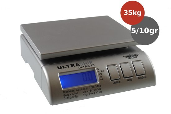 MyWeigh Ultraship-75 Post & Pakket weegschaal 34kg x 5gr