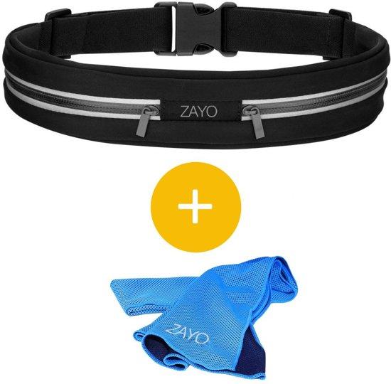 ZAYO - Fitness en Hardloop Heup band - Running / Fitness belt met 2 opbergvakken voor smartphone houder, sleutels, pasjes of geld