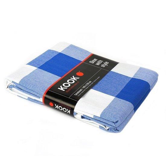 KOOK Tafelkleed Coated Ruit - Blauw - 140x230 cm