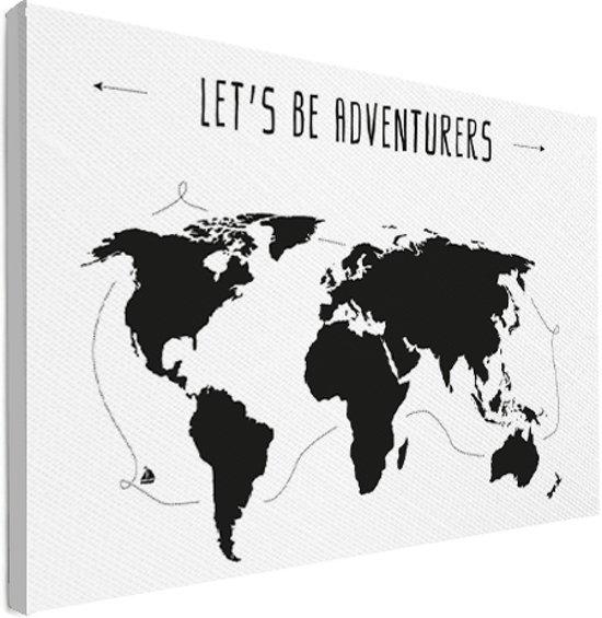 bol | wereldkaart zwart wit - spreuk - adventures - muur