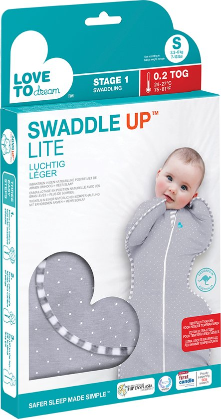 Love to dream - Swaddle UP inbakerslaapzak stage 1 LITE medium grijs