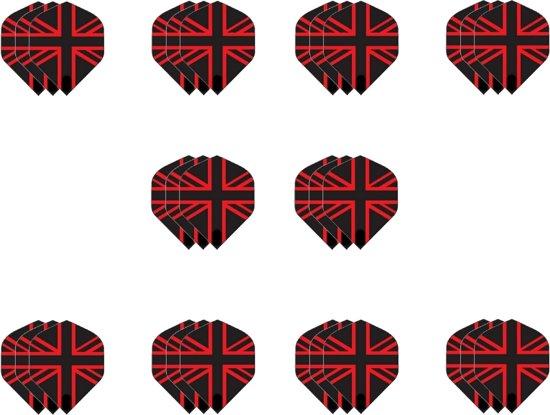 10 sets (30 stuks) Dragon darts Britse vlag zwart rood dart flights – darts flights