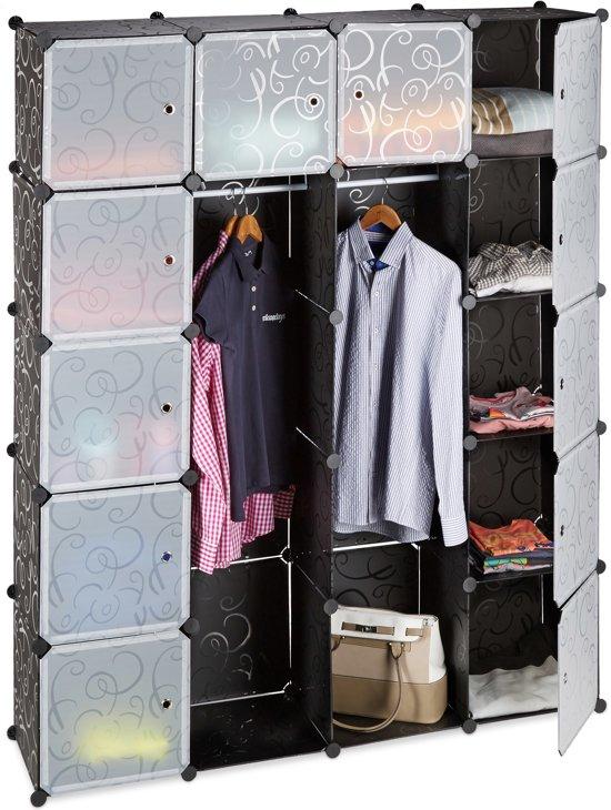 Relaxdays Kledingkast Kliksysteem 14 Vakken Garderobekast Hoge Kast Kunststof Zwart