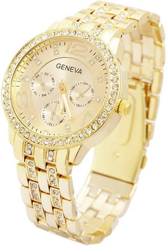 Geneva Dames Horloge   Goudkleurig & Kristal   Schakelband   RVS