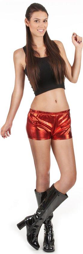 Glimmend rood disco shorty voor vrouwen - Verkleedkleding
