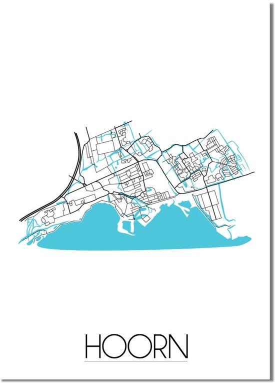 Plattegrond Hoorn Stadskaart poster DesignClaud - Wit - A3 poster