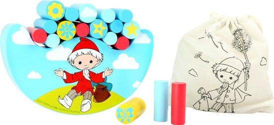 Houten balansspel - Klaas vaak - Multi kleuren + handige draagzak - Speelgoed vanaf 1,5 jaar