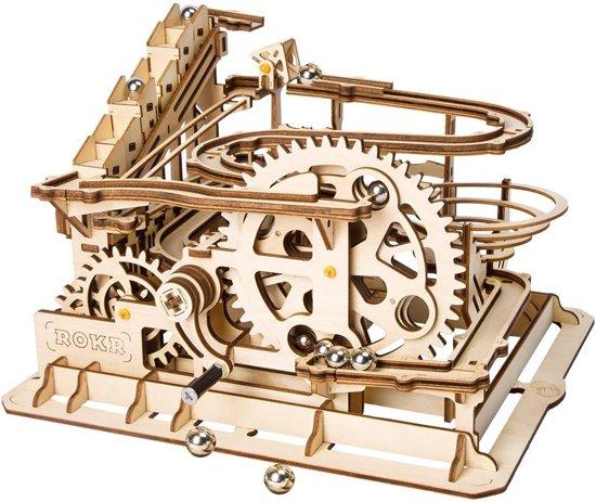 Robotime modelbouwpakket knikkerbaan hout - 185mm hoog x 255mm breed x 235mm diep - naturel kleur