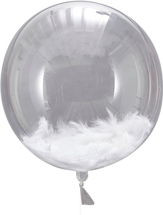 Ginger Ray Beautiful Botanics - Ballon gevuld met witte veren Ø 40 cm - Set-3 Valentinaa