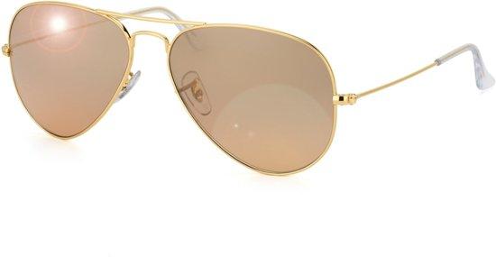 Ray-Ban RB3025 001/3E - zonnebril - Aviator (Gradiënt) - Goud / Zilver-Roze Spiegel - 55mm