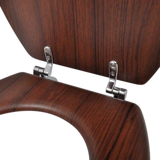 vidaXL WC-bril met MDF deksel en eenvoudig ontwerp houtkleurig