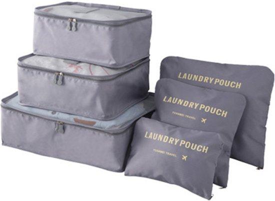 Packing Cubes - 6 stuks - Koffer Organiser - Grijs - Je koffer georganiseerd ingepakt