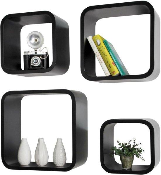 Wandplank Retro Cubes.Bol Com Wandrek Retro Cube Set Van 4 Zwart