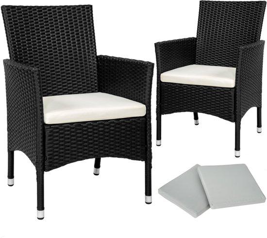 Zwarte Aluminium Tuinstoelen.Bol Com Tectake 2 Tuinstoelen Incl Kussens Wicker Zwart