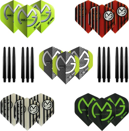 Michael van Gerwen - darts flights - 5 Sets Multipack NIEUW inclusief 4 sets - darts shafts - dart flights
