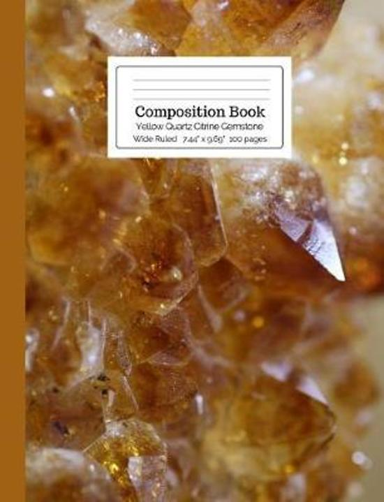 Composition Book Yellow Quartz Citrine Gemstone Wide Ruled