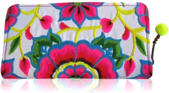 Roze witte Bloem - Hill Tribe portemonnee - Ibiza style