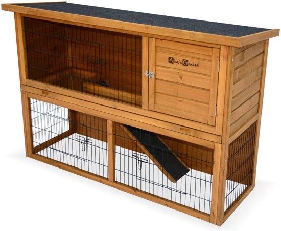 Houten konijnenhok REX voor konijnen en andere knaagdieren, 4 konijnen, hok met buitenverblijf, met binnen- en buitenruimte.