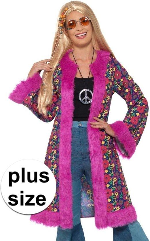 Carnavalskleding Dames Maat 48.Bol Com Grote Maat Hippie Peace Jas Voor Dames 48 50 Xl Smiffys