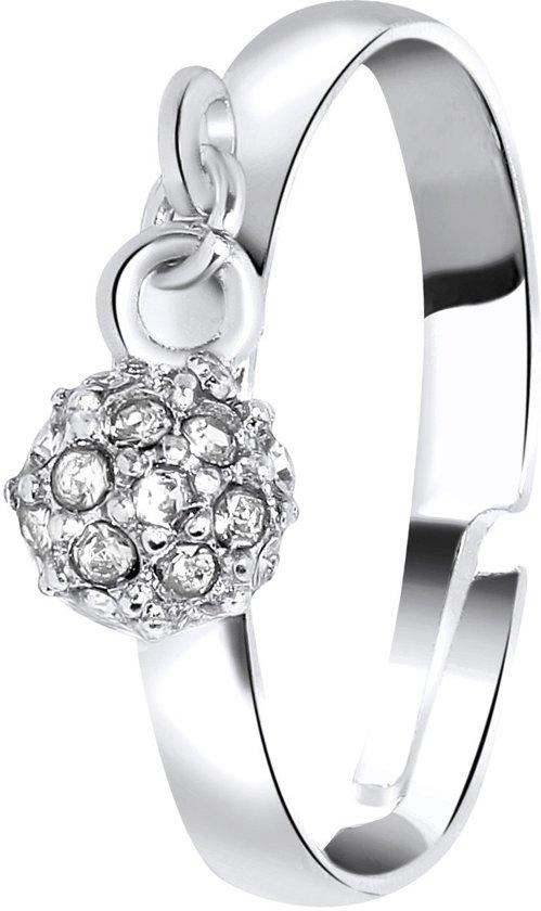 Lucardi - PINK - Zilverkleurige byoux ring met bolletje