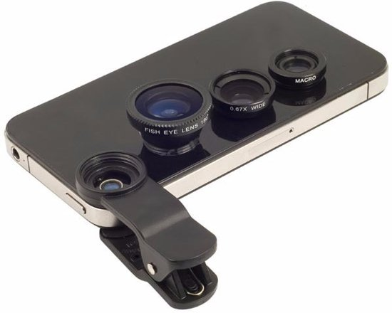 3-in-1 Smartphone / Telefoon Lens Kit - Fish Eye / Macro / Wide Angle Lenzen