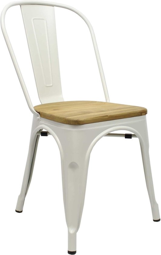 Industriële retro stoel Blade wit met hout