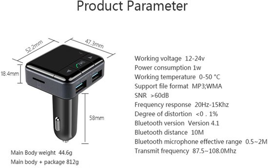 5 in 1 Draadloze Universele Bluetooth 4.1 Auto MP3 Speler / FM transmitter / LED Display / Handsfree bellen / 2 x High Speed USB Oplader / SD,TF Card Ondersteuning / USB Stick / 3.5mm Jack AUX voor alle Smartphones zoals o.a. iPhone / Samsung / etc in Rosières