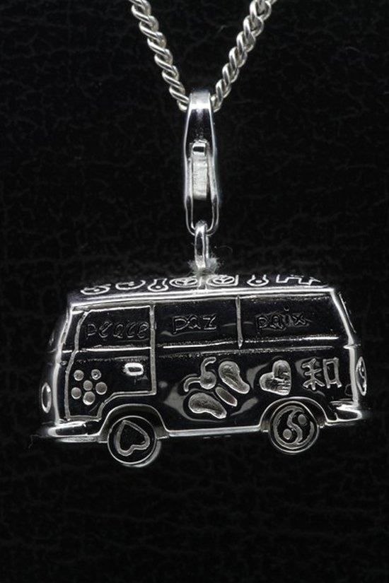 Zilveren Hippie bus draaiende wielen groot hanger én bedel