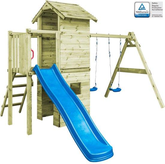 vidaXL Speelhuis ladder, glijbaan en schommels 390x353x268 cm FSC hout