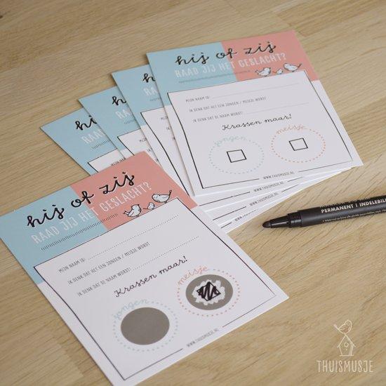 10x kraskaarten hij of zij - Raad jij het geslacht?| Genderreveal | Gender reveal party | boy or girl | babyshower | Thuismusje