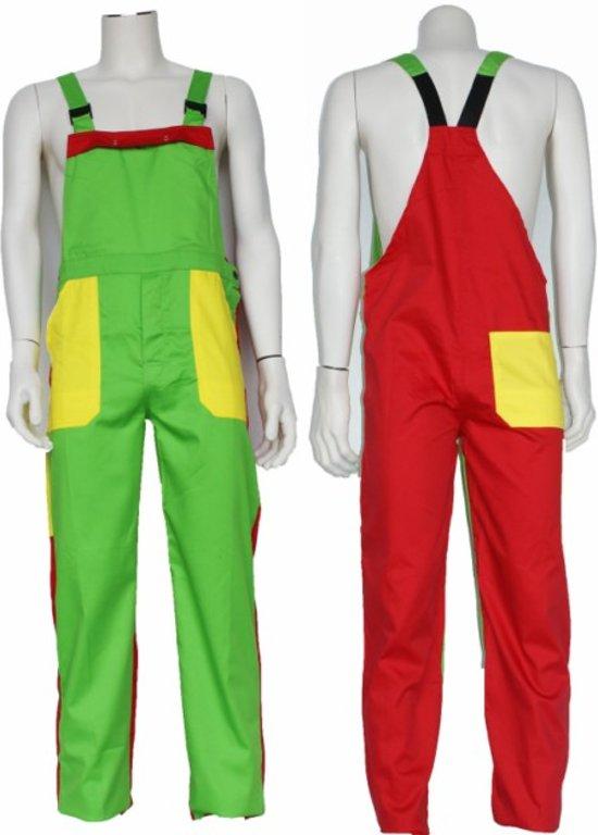Yoworkwear Tuinbroek polyester/katoen groen-geel-rood maat 140
