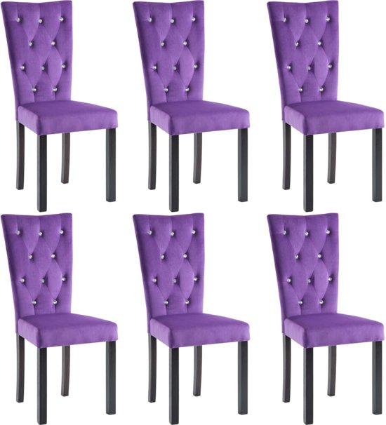 Eetkamerstoelen Paars 6 STUKS met Kristallen Knopen / Eetkamer stoelen / Extra stoelen voor huiskamer / Dineerstoelen / Tafelstoelen / Barstoelen / Huiskamer stoelen/ Tafelstoelen / Barstoelen