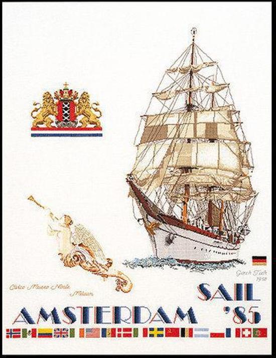 Thea Gouverneur Borduurpakket 2079A Sail Amsterdam 1985 - Aida stof 100% katoen